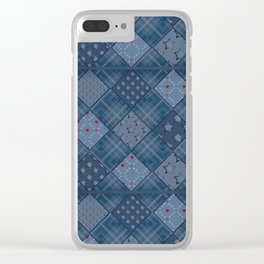 Seamless jeans denim patchwork pattern background Clear iPhone Case
