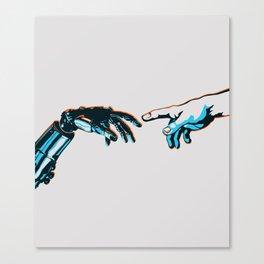 Creation of Man 2.0 Classic Michelangelo Robot Hand Art Print Canvas Print