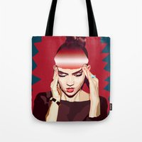 grimes Tote Bags featuring Grimes by Arielle Herman