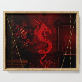 Wonderful red chinese dragon Serving Tray