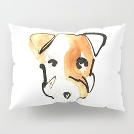 Black Ink and Watercolor Jack Russell Terrier Dog Pillow Sham