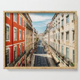 Beautiful Streets Downtown Lisbon City, Wall Art Print, Modern Architecture Art, Poster Decor Serving Tray