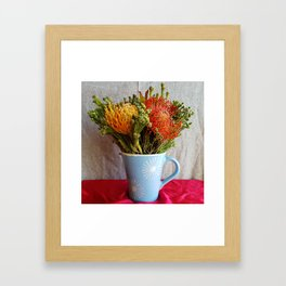 Flowers in a vase - with Pincushion Protea Framed Art Print