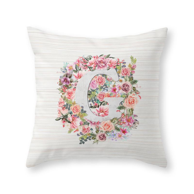 Letter G Watercolor Flower Throw Pillow