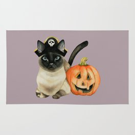 Halloween Siamese Cat with Jack O' Lantern Rug