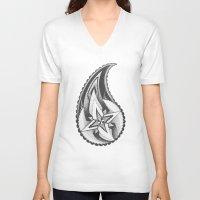 paisley V-neck T-shirts featuring Paisley by Anastasia Grishchenko