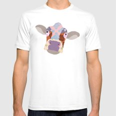 Cow Mens Fitted Tee White SMALL