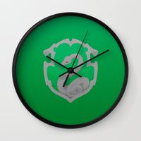 slytherin Wall Clocks featuring Slytherin by Tom Oxnam