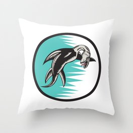 Sea Serpent Circle Woodcut Throw Pillow