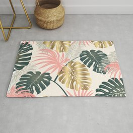 Tropical Print with Gold Rug