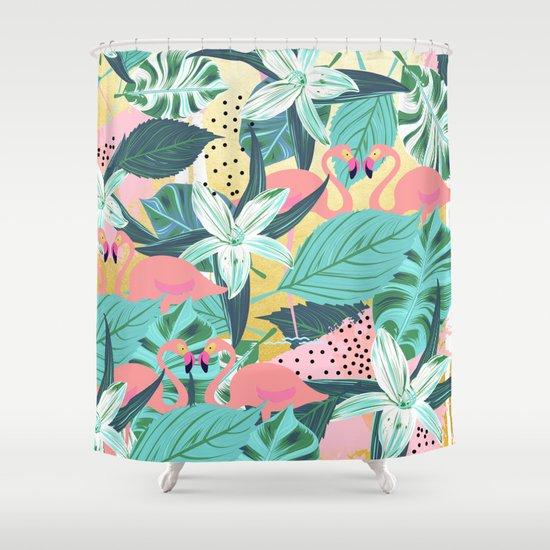 Flamingo Tropical Society6 Decor Buyart Shower Curtain