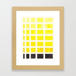 Yellow Minimalist Mid Century Grid Pattern Staggered Square Matrix Watercolor Painting Framed Art Print