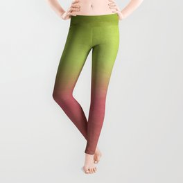 Watermelon Watercolor Ombre Abstract Leggings