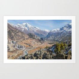 The Valley of Manang, Nepal Art Print