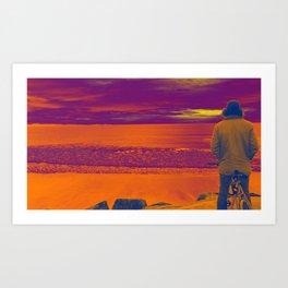 Byron Bay dawn patrol Art Print