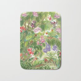 Birds and Orchids Tropical Rainforest II Bath Mat