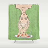 pasta Shower Curtains featuring Italian pasta girl by mZwonko