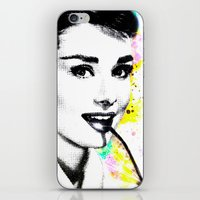audrey hepburn iPhone & iPod Skins featuring AUDREY HEPBURN by Vertigo