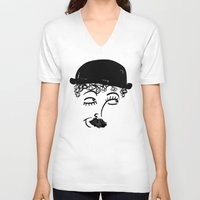 chaplin V-neck T-shirts featuring Chaplin  by Sardine