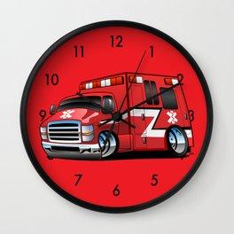 Paramedic EMT Ambulance Rescue Truck Cartoon Wall Clock