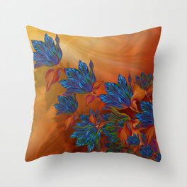 """Blue flowers on orange silk"" (Air Spring at night) Throw Pillow"