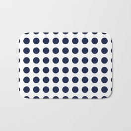 Simply Polka Dots in Nautical Navy Blue Bath Mat