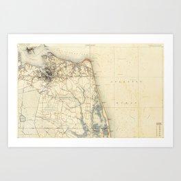 Vintage Map of Norfolk and Virginia Beach (1891) Art Print