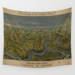 Vintage Bird's Eye Map of Tennessee & Kentucky (1862) Wall Tapestry