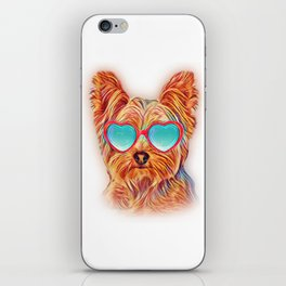Yorkshire Terrier Colorful Yorkie Neon Dog Sunglasses iPhone Skin