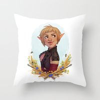 dragon age Throw Pillows featuring Dragon Age Inquisition: Sera by Elies Indigne