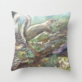squirrels, aqua Throw Pillow
