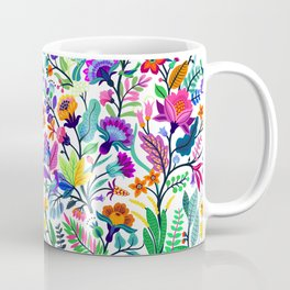 floral pattern with bright colorful flowers and tropic leaves on a white background. Modern floral background. Trendy Folk style. Coffee Mug