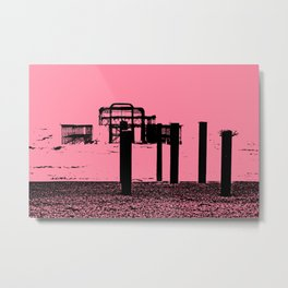 West Pier Mono Pink Metal Print