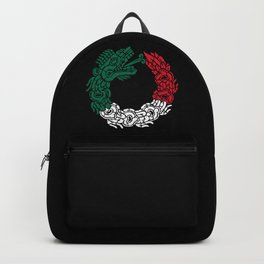 Aztec Quetzalcoatl - Serpent Mexican Flag - Mexico Roots Backpack