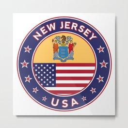 New Jersey, USA States, New Jersey t-shirt, New Jersey sticker, circle Metal Print