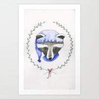 Holiday Raccoon  Art Print