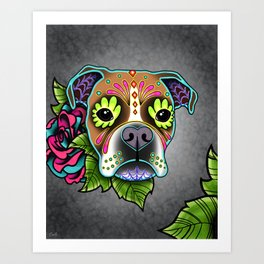 Boxer in White Fawn - Day of the Dead Sugar Skull Dog Art Print