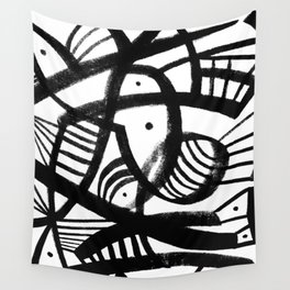 Black and white abstract mid century Wall Tapestry