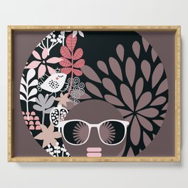 Afro Diva : Sophisticated Lady Pale Pink Peach Taupe Serving Tray