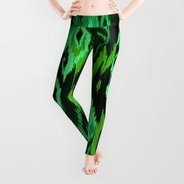 MODERN IKAT TRIBAL PATTERN | green Leggings