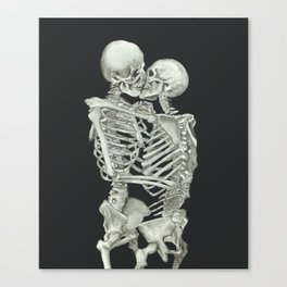 Valentine's Day: Skeleton Kiss Canvas Print