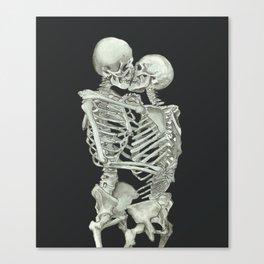 Valentine's Day Gift: Skeleton Kiss Canvas Print