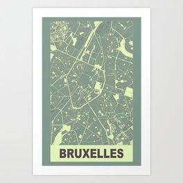 Bruxelles, Belgique, city map, Mantle grey Art Print