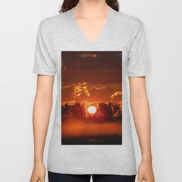 Flaming Horses over the Foggy Sunrise Unisex V-Neck