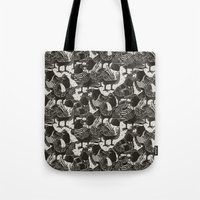 dramatical murder Tote Bags featuring Murder Weapons by Alex Solis