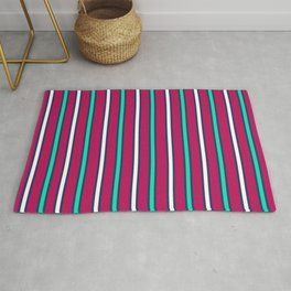 Raspberry stripes lined striped horizontal lines parallel summer Rug