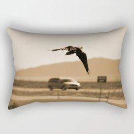 Raven Flying in Sepia Rectangular Pillow