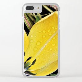 Yellow tulip petal Clear iPhone Case