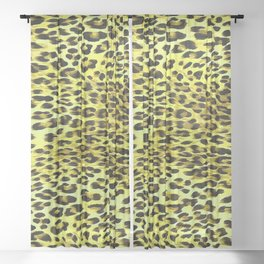 Yellow Tones Leopard Skin Camouflage Pattern Sheer Curtain