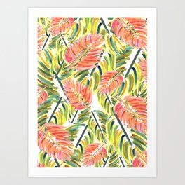 Tropical Painted Flowers in Paradise Art Print